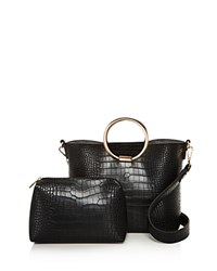 Street Level Ring Croc Embossed Satchel 100 Exclusive Black Rose Gold