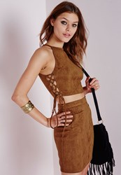Missguided Suede Lace Up Crop Top Tan