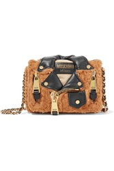 Moschino Leather Trimmed Faux Fur Shoulder Bag Tan