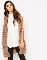 Traffic People Shaggy Faux Fur Longline Gilet Brown