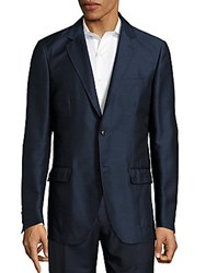 Brioni Silk Blend Long Sleeve Jacket Blue