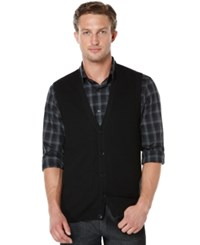 Perry Ellis Solid Textured Sweater Vest Black