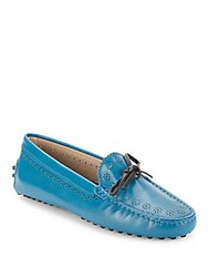 Tod's Leather Slip On Moc Toe Loafers Green