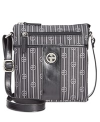 Giani Bernini Stripe Signature Crossbody Only At Macy's Black Grey