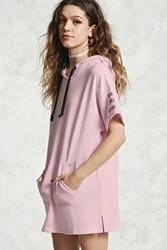Forever 21 Graphic Hooded Dress Pink Black