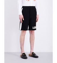 Gucci Love Embroidered Wool Shorts Black