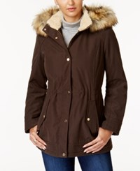 Jones New York Faux Fur Trim Parka Olive