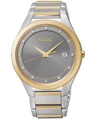Seiko Men's Solar Diamond Accent Two Tone Stainless Steel Bracelet Watch 39Mm Sne344 Only At Macy's