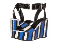 Just Cavalli Striped Printed Leather And Patent Leather China Blue Women's Wedge Shoes