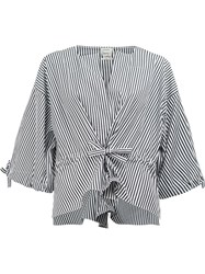 Maison Rabih Kayrouz Striped Wide Sleeve Blouse Black