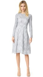 Tome Tweed Long Sleeve Flare Dress Blue White