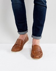 Kg By Kurt Geiger Woven Loafers In Tan Leather