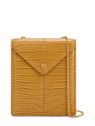 Nanushka Tove Croc Embossed Faux Leather Bag Tan