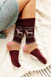 Urban Outfitters Reindeer Intarsia Boot Sock Red Multi