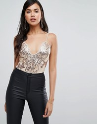 Naanaa Scalloped Plunge Front Body In Sequin Lace Rose Gold