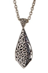 Lois Hill Sterling Silver Jared Granulated And Cutout Double Sided Pendant Necklace Metallic