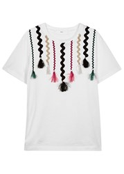 Toga Pulla White Ribbon Appliqued Cotton T Shirt