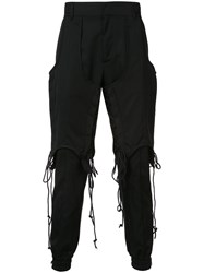 Juun.J Double Layered Lace Up Trousers Men Wool 50 Black