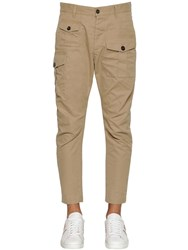 Dsquared 16Cm Sexy Cargo Cotton Twill Pants Beige
