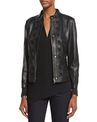 Escada Laser Cut Leather Jacket Black
