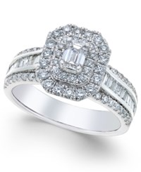 Macy's Diamond Square Halo Engagement Ring 1 3 8 Ct. T.W. In 14K White Gold