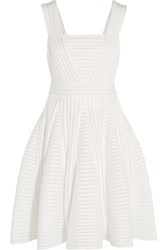 Maje Striped Mesh And Jersey Mini Dress White