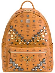 Mcm Studded Large Backpack Brown