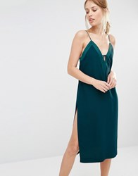 Finders Keepers Slip Dress With Lace Up Petrol Green