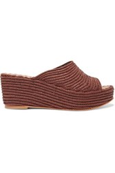 Carrie Forbes Karim Woven Raffia Wedge Sandals Taupe
