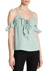 Lunik Ruffle Trim Cold Shoulder Blouse Green