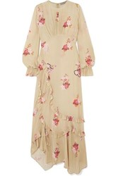 Preen Line Gabriella Asymmetric Ruffled Floral Print Crepe De Chine Maxi Dress Cream
