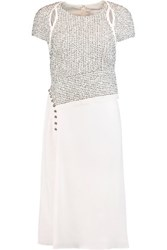 3.1 Phillip Lim Boucle And Silk Crepe De Chine Dress Ivory