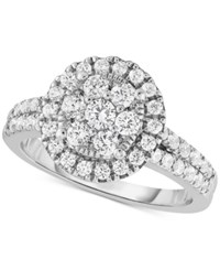 Macy's Diamond Halo Cluster Engagement Ring 1 1 4 Ct. T.W. In 14K White Gold