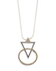 House Of Harlow Crystal Pave Geometric Pendant Two Tone Necklace Gold
