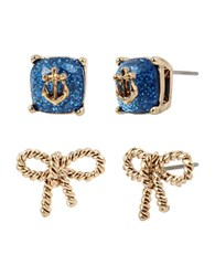 Betsey Johnson Anchors Away Anchor Stone And Rope Bow Duo Stud Earrings White