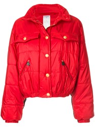 Chanel Vintage Quilted Bomber Jacket Red