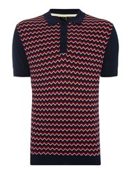 Merc Mens Knitted Polo Navy