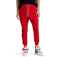 Stampd Logo Striped Cotton Fleece Joggers Red