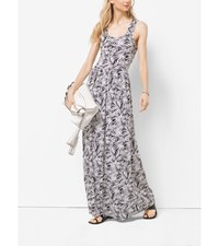 Palm Print Matte Jersey Maxi Dress Petites Black