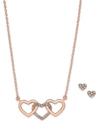 Charter Club Rose Gold Tone Triple Heart Pendant Necklace And Matching Pave Stud Earrings Set Only At Macy's