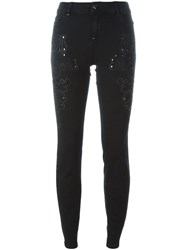 Twin Set Stretch Embellished Cropped Trousers Blue