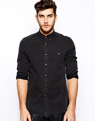 Asos Twill Shirt In Long Sleeve With Acid Wash Black