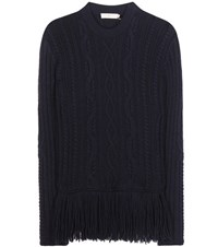 Tory Burch Valero Fisherman Wool Blend Sweater Blue