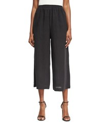 Eskandar Cropped Linen Trousers Black