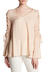 Tassels N Lace Up Sleeve Shirt Pink