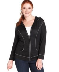 Style And Co. Plus Size Skull Embellished Zip Front Hoodie