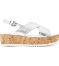 Dune Kraft Leather Cross Strap Flatform Sandal Silver Metallic