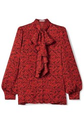 Alice Olivia Tammy Pussy Bow Printed Crepe Blouse Red