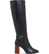 Office Koko Leather Knee High Boots Black Leather