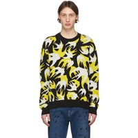 Mcq By Alexander Mcqueen Black Patchwork Swallow Sweater
